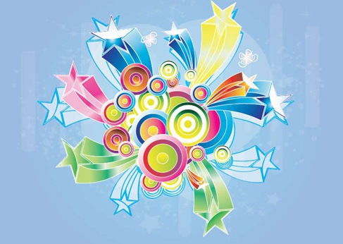 Colorful Retro Design Background Vector Graphic