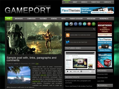 Free WordPress Theme - Gameport Preview
