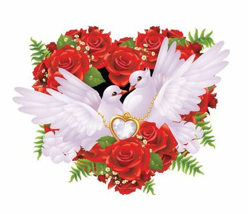 Roses-and-Pigeons-Vector-Illustration