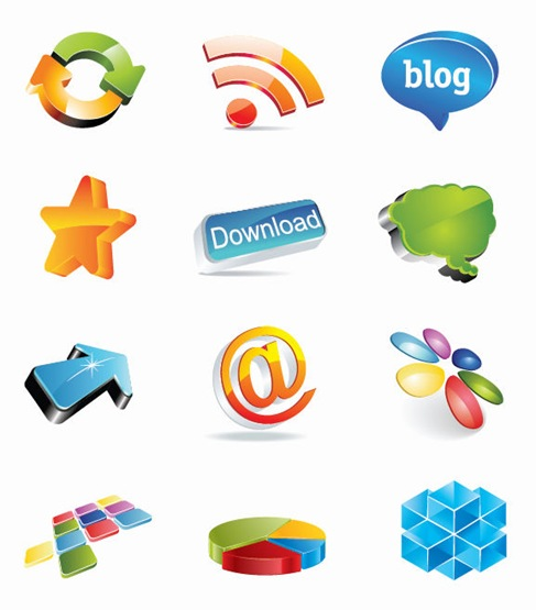 3D Web Design Elements Vector Set