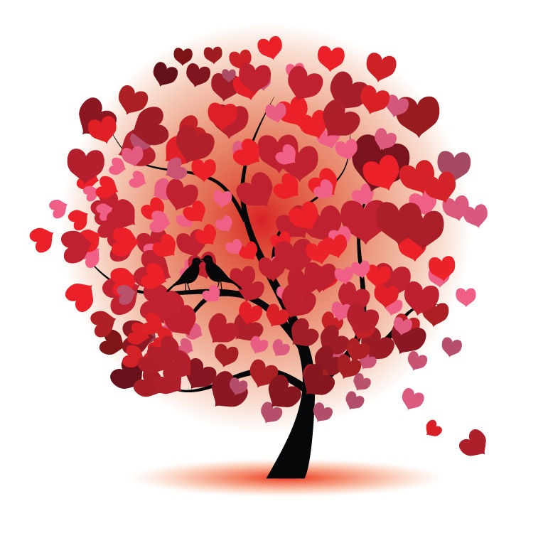 Name abstract love tree vector graphic