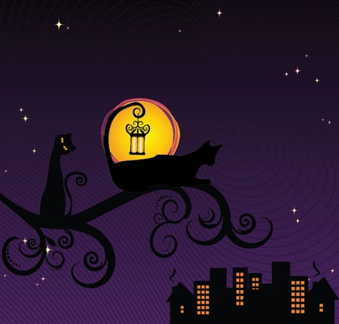 Black Silhouette of Cat at Night Vector Illustration