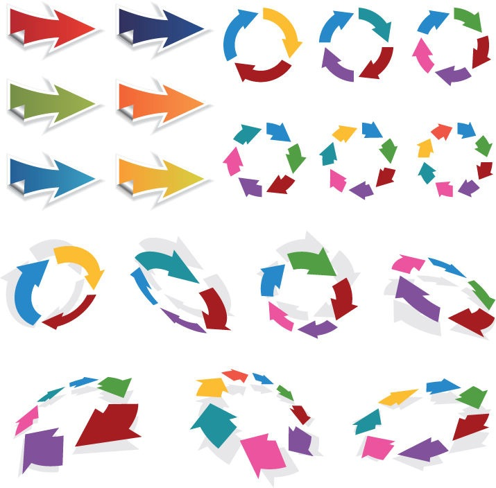 colorful 3d vector arrows set free vector graphics all free web rh webdesignhot com free vector arrows in circle free vector arrow clip art
