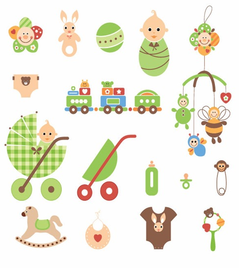 Cute Newborn Elements Vector Graphic