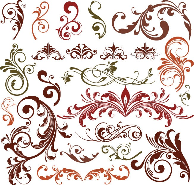 Name floral design elements vector set