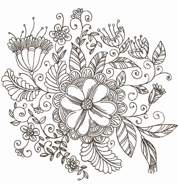 Floral Art Line Design : Line drawing swirl flower pattern vector graphic free