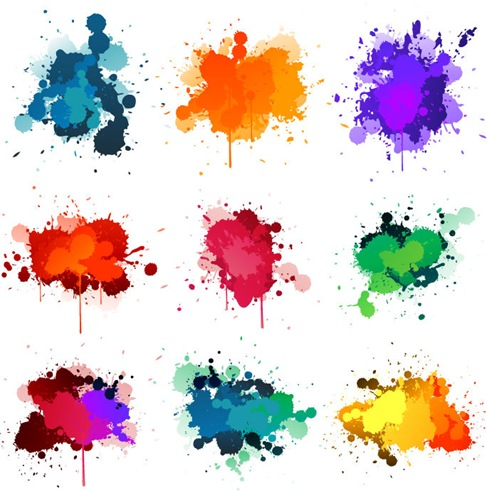Colorful Ink Splashes Vector