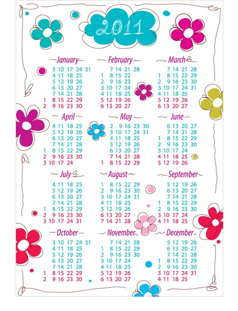 Annual Calendar For 2011 with Flowers