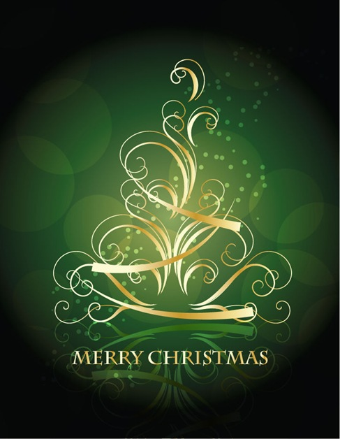 Golden Swirling Christmas Tree with Blackish Green Background