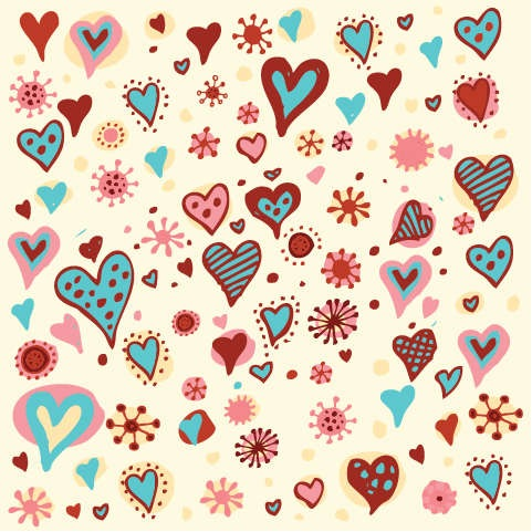 Valentines Day Hearts Pattern Vector Graphic