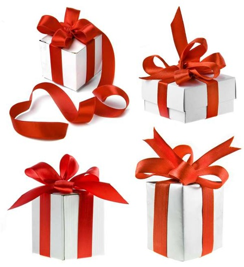 White Gift Boxes with Red Ribbon Over White Background Preview