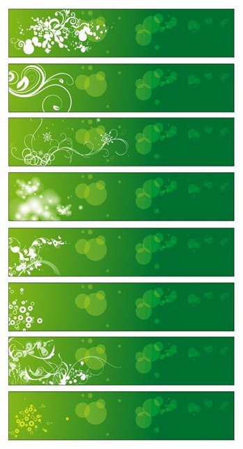 Green Floral Banners Vector