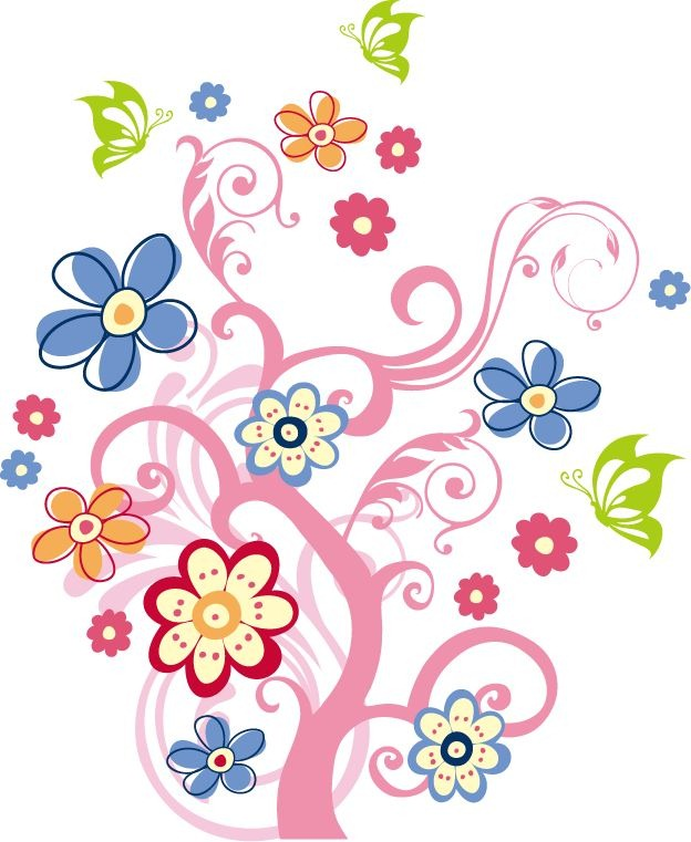 Name tree with flowers vector graphic