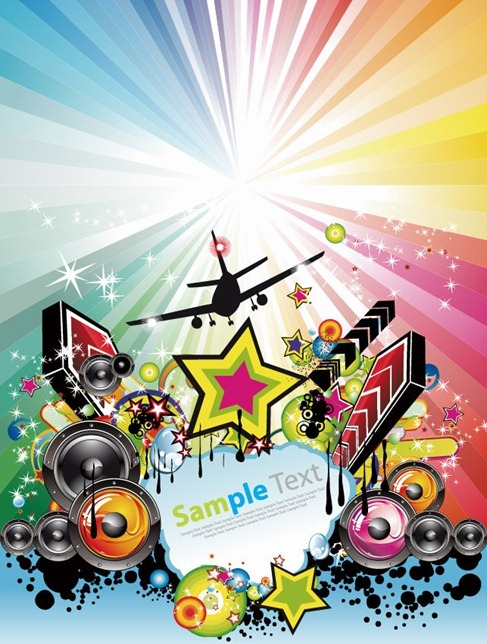Abstract Rainbow Disco Music Background