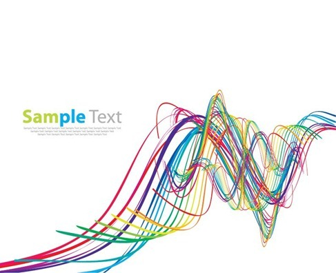 Abstract Rainbow Wave Vector Art