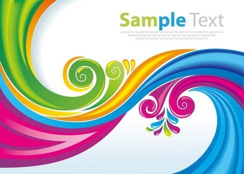 Rainbow Floral Swirls Vector Art