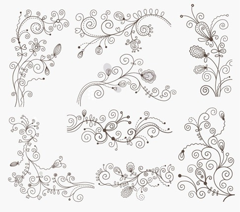 Swirl Floral Decorative Elements Vector Graphic Set