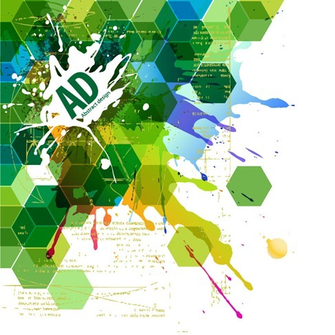 Abstract Hexagonal with Paint Splat Vector Illustration
