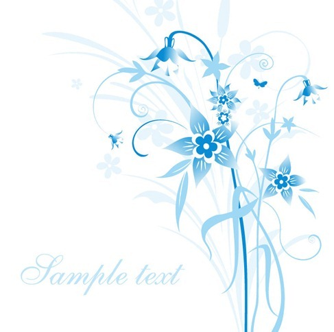 Abstract Light Blue Floral Vector Illustration
