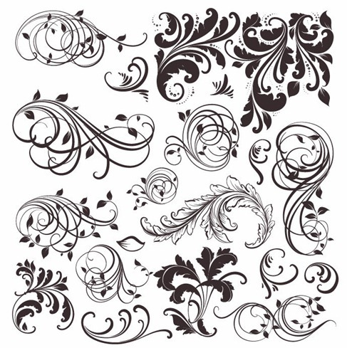 Vintage Floral Elements Vector Set