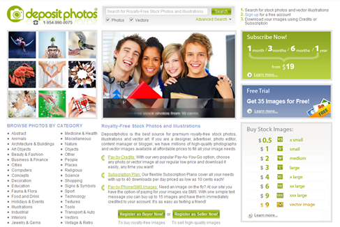 Depositphotos Homepage