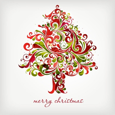 Floral Swirls Chrismas Tree Vector Graphic