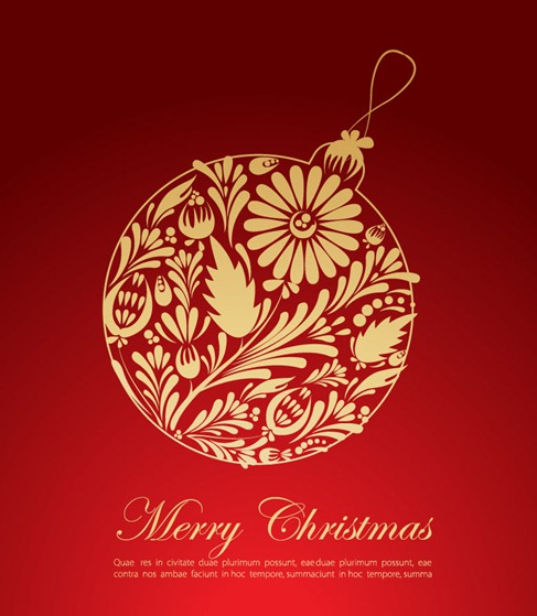 Christmas Red Greeting Card Vector Graphic