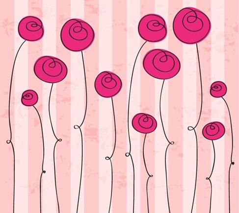 Abstract Hand drawn Romantic Flowers Vector Graphic