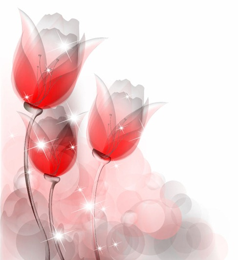 Abstract Red Tulips Vector Illustration