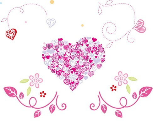 Beautiful Floral Heart Vector Illustration