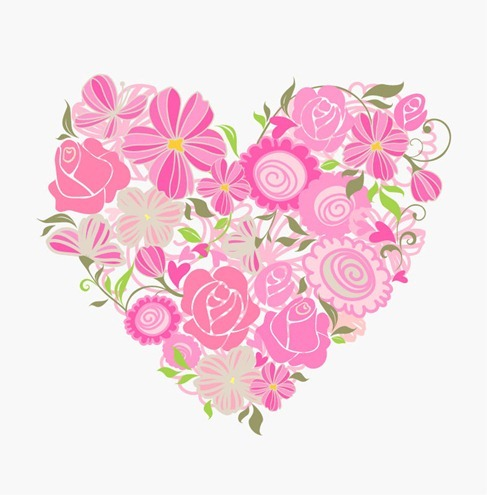 Pink Floral Heart Vector Graphic