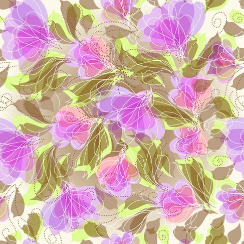 Abstract Seameless Floral Background Vector Graphic