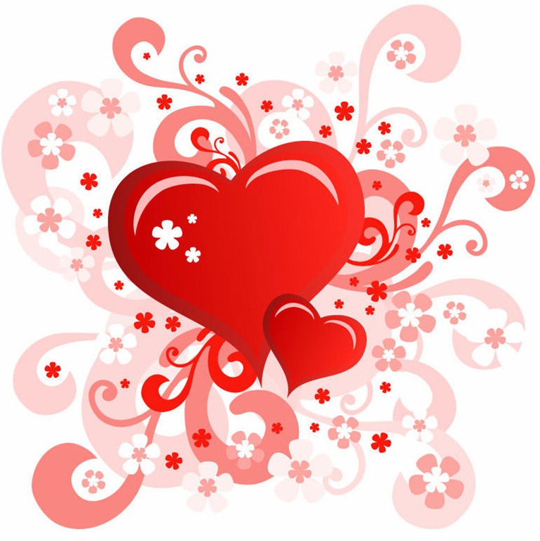 Valentineu0027s Day Card With Swirl Floral Heart Design