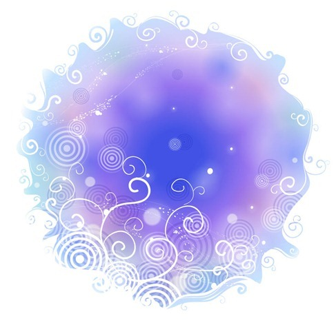 Abstract Blue Background with Swirl Floral