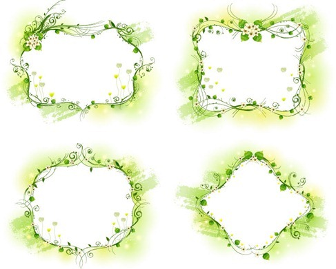 Beautiful Floral Frame Vector Set