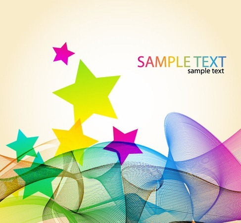 Abstract Colorful Waves with Star Vector Background