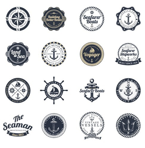 Ocean and Sea Labels Stamp Vector Set