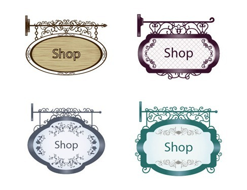 Vintage Signboard Vector Set 1