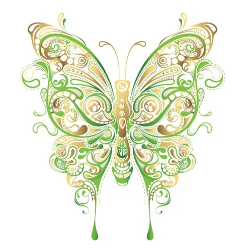 Abstract Floral Butterfly Vector Art