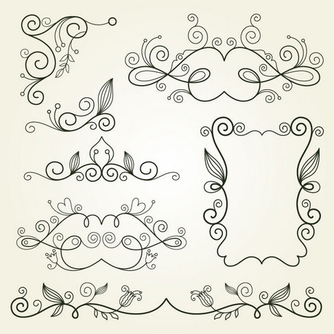 Floral Swirl Elements Vector Graphic