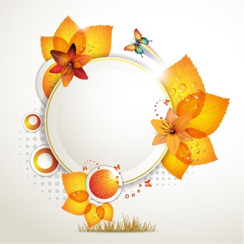 Round Design of Autumnal Leaves Vector Illustration