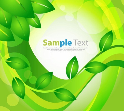 Abstract Vector Green Leaves Floral Background
