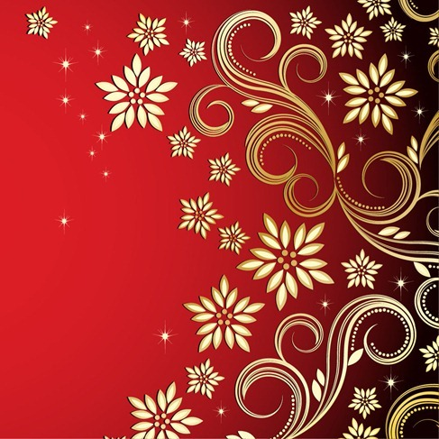 Bronze Floral Design on Red Background