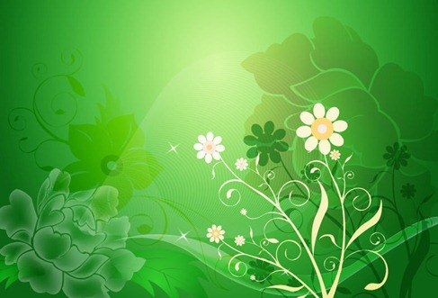 Vector Floral Design on Green Background