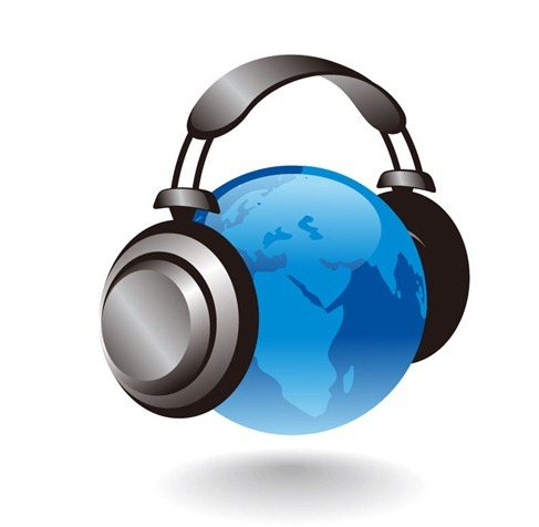3D Earth Globe With Headphones Vector Graphic