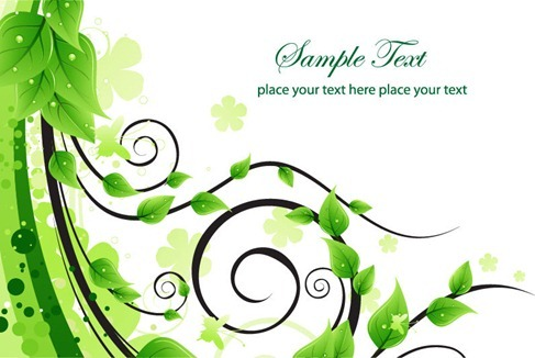 Green Floral Swirl Vector Illustration
