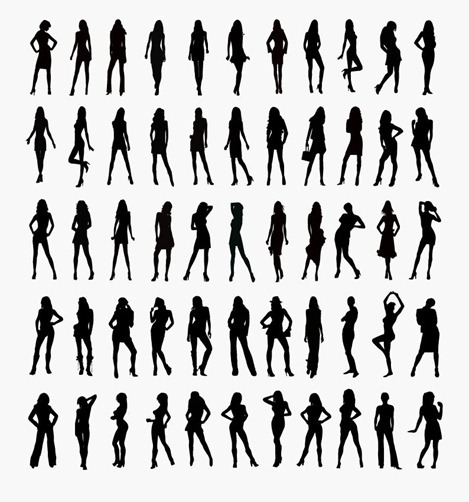 Vector Set of Woman Silhouettes