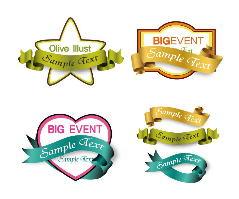 shopping labels with ribbons vector graphic free vector graphics rh webdesignhot com vector labels vintage free golden labels vector free
