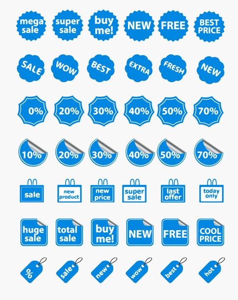 Shopping and Discount Tags Vector Set
