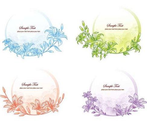 Vector-Floral-Frame-Set